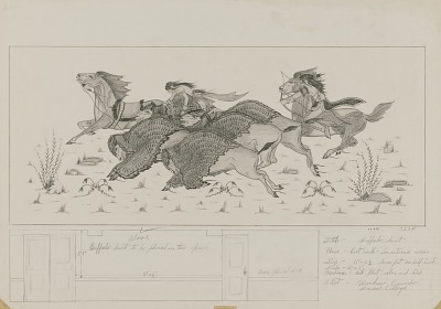 Buffalo Hunt (mural study for east wall, Recreation Room, Department of Interior, Washington, DC)