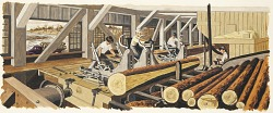 Lumber Manufacturing (mural study, Trinity, Texas Post Office)