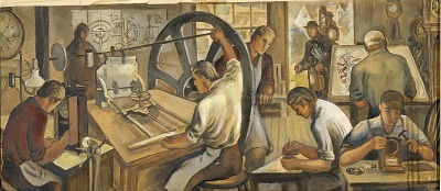 Early Clockmaking (mural study, Thomaston, Connecticut Post Office)