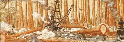 Cypress Logging (mural study, Perry, Florida Post Office)