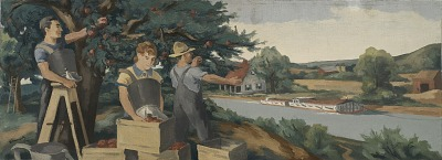 Apple Pickers (mural study, Clyde, New York Post Office)