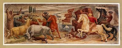 Cowboys Driving Cattle(?) (mural study, Caldwell, Kansas Post Office)