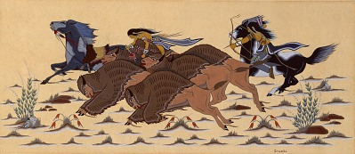 Buffalo Hunt (color study for mural, East Wall, Recreation Room, Department of the Interior, Washington, D.C.)