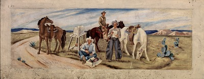Cowboys Receiving the Mail (mural study, Giddings, Texas Post Office)