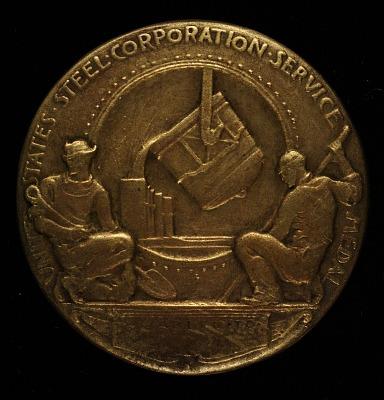 Elbert H. Gary, United States Steel Corporation Service Medal (reverse)