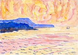 Watercolor no. 6, Blue Coast
