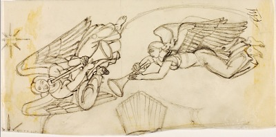 Two Angels (sketch for Altar Triptych, American Military Cemetery, Anzio, Italy)