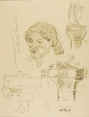 Sketch of Greek Head, Capitals