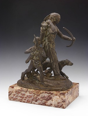 Indian Hunter with Boy and Dog