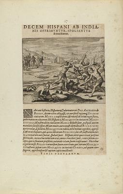 Decem Hispani ab India-/nis Opprimuntur, Spoliantur/and Trucidantur. (from book, Americae, parts seven and eight)