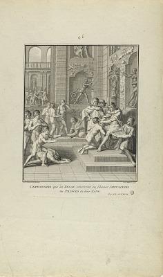 Ceremonies que les Incas Observent en Faisant Chevaliers/les Princes de leur Sang. (from book, Histoire des Yncas...etc.)