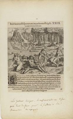 Indisaeuitiae Hispanorum Impatientes Sibi Psis/Manus Violentas Inserunt. XXIII. (from book, Americae, part four)