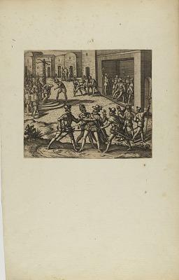 (Jacobus Almagrus a Ferdinando Pizarro Invincula Coniicitur in Carcere....) (from book, Americae, part six)