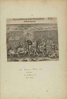 Outina Gallorum Auxilio Potanou Suum Hostem Superat. XIII. (from book, Americae, part two)