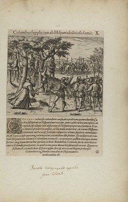 Columbus Supplicium ab Hispanis Seditiosis Sumit. X. (from book, Americae, part four)