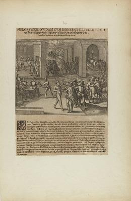Mercatores Quidam cum Deessent Illis Cibi/Quibus Vescerentur in.... (from book, Americae, part five)