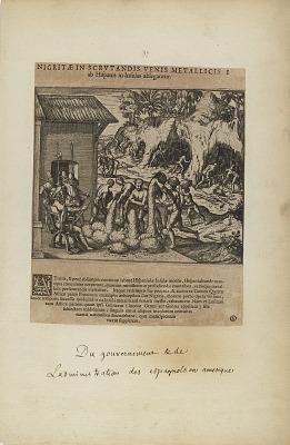 Nigritae in Scrutandis Venis Metallicis/ab Hispanis in Insulas.... (from book, Americae, part five)