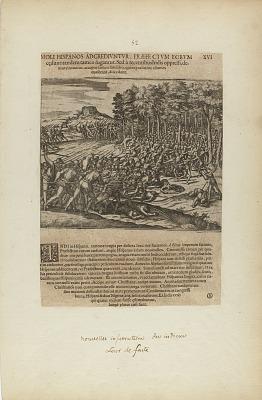 Moli Hispanos Adgrediuntur, Praefe Ctum Eorum/Cedunt: Tandeum.... (from book, Americae, part five)