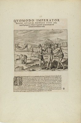 Quomodo Imperator/Regni Guianae, Nobiles Suos Or-/Nare.... (from book, Americae, parts seven and eight)