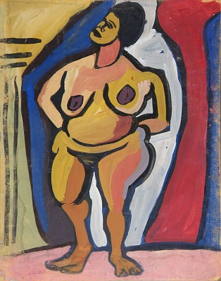 Standing Female Nude with Hands on Hips