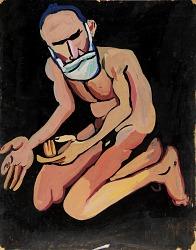 Bearded Kneeling Male Nude