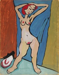 Standing Female Nude with Red Hair and Hands on Head