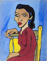Woman in Red Dress on Yellow Chair