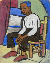 Seated Man with Red Shoes and Blue Hair