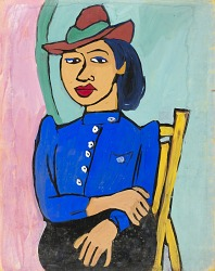 Seated Woman in Red Hat and Blue Blouse
