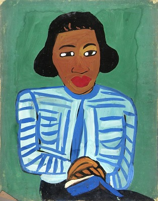 Portrait of Woman with Blue and White Striped Blouse