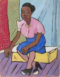 Woman in Pink Blouse and Blue Skirt Seated on Yellow Platform