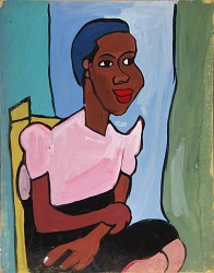 Woman with Pink Blouse in Yellow Chair