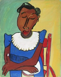 Woman in Blue Dress with White Collar in Red Chair
