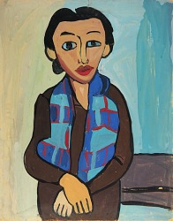 Woman with Plaid Scarf
