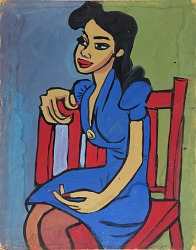 Woman in Blue Dress in Red Chair