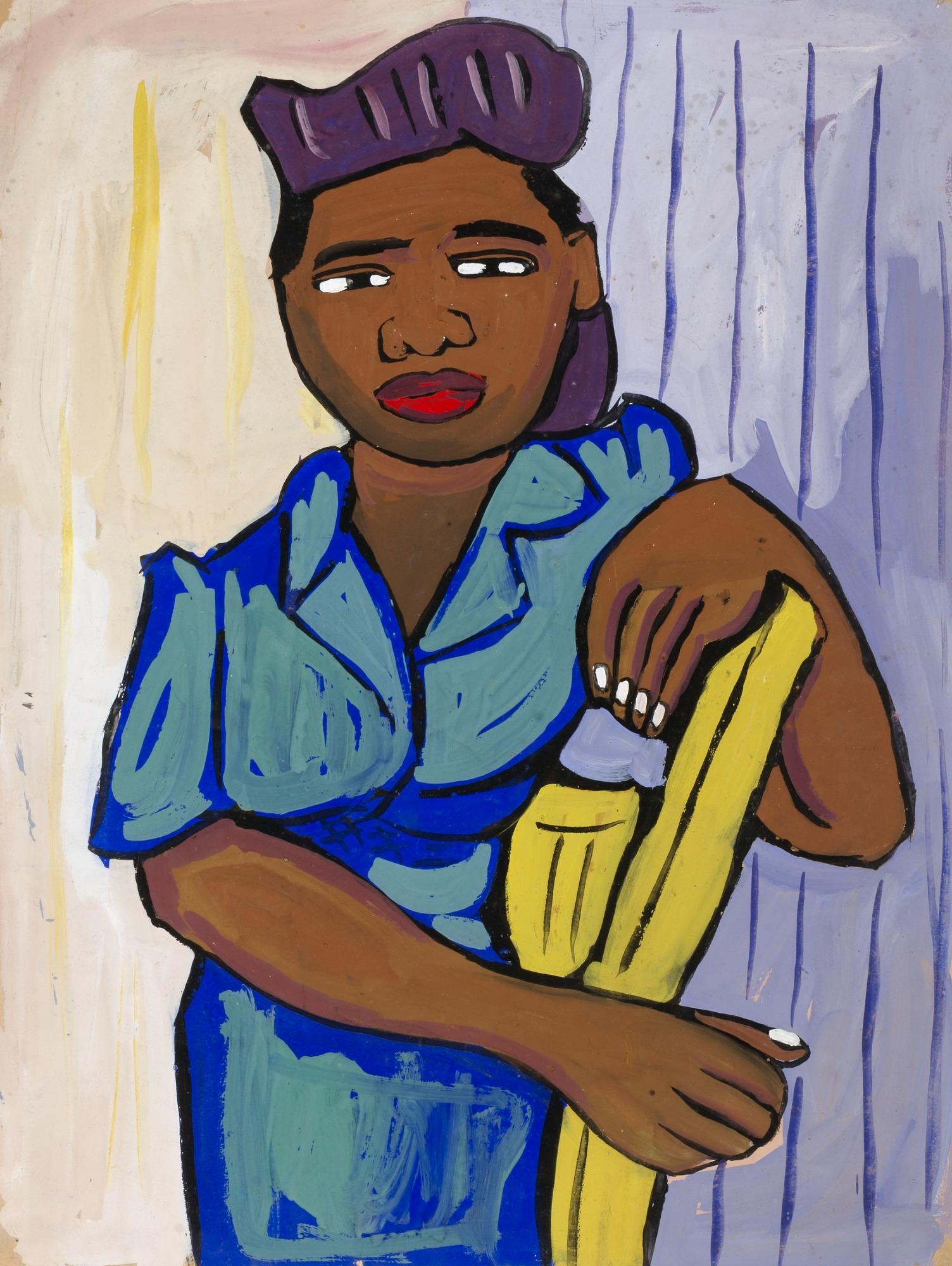 Woman Beside Yellow Chair
