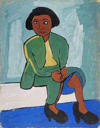 Seated Woman in Green Suit