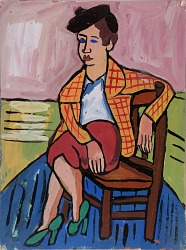 Seated Woman in Plaid Jacket