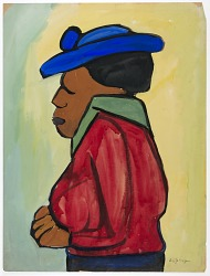 Woman in Blue Hat and Red Jacket in Profile