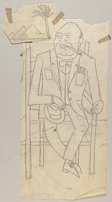 Winston Churchill--Study for Three Allies in Cairo