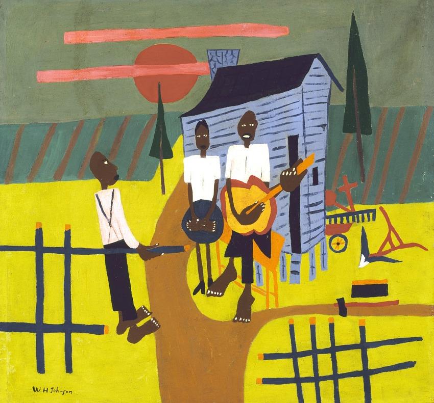 Folk Scene--Man with Banjo
