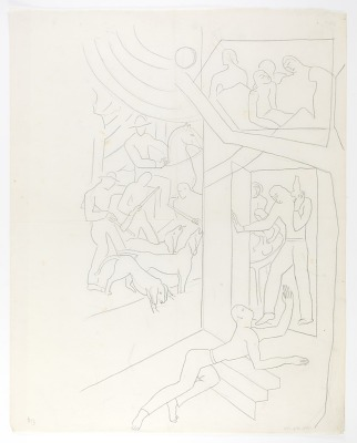 (Untitled) (tracing of drawing for Proposed Railway mural)
