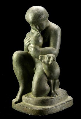 Kneeling Boy with Bird and Dog