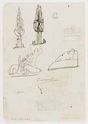 (Untitled) (study for Monument to Six Million Jews Destroyed in Germany by the Nazis) #14 {rectoA}; (Untitled--Figure with Upraised Arms) (study for Monument to Six Million Jews Destroyed in Germany by the Nazis) {versoB}