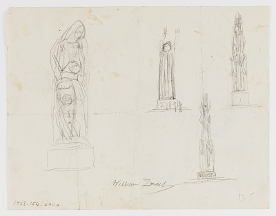 (Untitled) (study for Monument to Six Million Jews Destroyed in Germany by the Nazis) #15 {rectoA}; (Untitled--Fish on Hook; Female and Hook) {versoB}