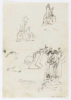 (Untitled--Four sketches of Figures on one page) {rectoA}; (Untitled--One sketch of Figures on one page) {versoB}