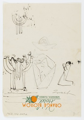 (Untitled--Four Sketches, including One of Candelabra on One Page) {rectoA}; (Untitled--Four Sketches on One Page) {versoB}