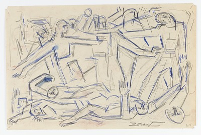 Study for Battle of Warsaw Ghetto Panel in Monument to Six Million Jews Destroyed by the Nazis in Germany