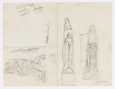 (Untitled--Three Studies for Multi-Figured Group) {rectoA}; (Untitled--Five Sketches on One Sheet) {versoB}