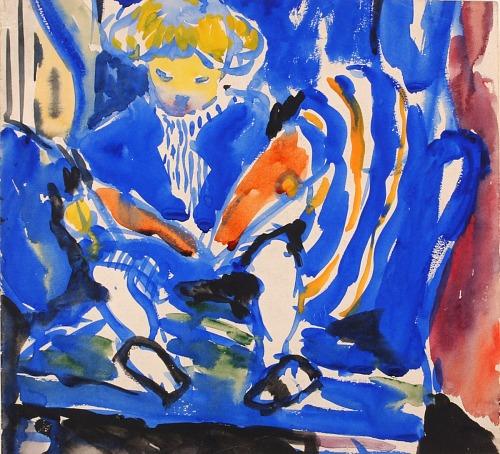 """Child Reading,"" painting by H. Lyman Saÿen"